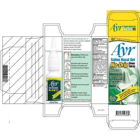 Ayr Saline Nasal Gel No-Drip Sinus Spray, 0.75 FL OZ, Multicolor