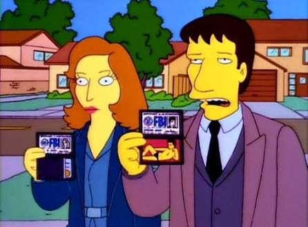 """The Springfield Files"" The idea for a crossover episode was first conceived at a story retreat. Jean found a copy of TV Guide while in the bathroom, with The X-Files on the cover. Chris Carter, the creator of The X-Files, said that it was an ""honor"" to be satirized by The Simpsons. The Leonard Nimoy scenes are a send-up of the paranormal documentary series ""In Search Of..."" which Nimoy hosted."