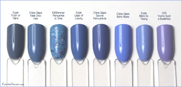 Blue polish - Essie Truth or Flare, China Glaze Fade Into Hue, KBShimmer Periwinkle in Time, Essie Lapiz of Luxury, China Glaze Secret Peri-wink-le, China Glaze Boho Blues, Essie Bikini So Teeny, OPI You're Such A BudaPest #blue #purple