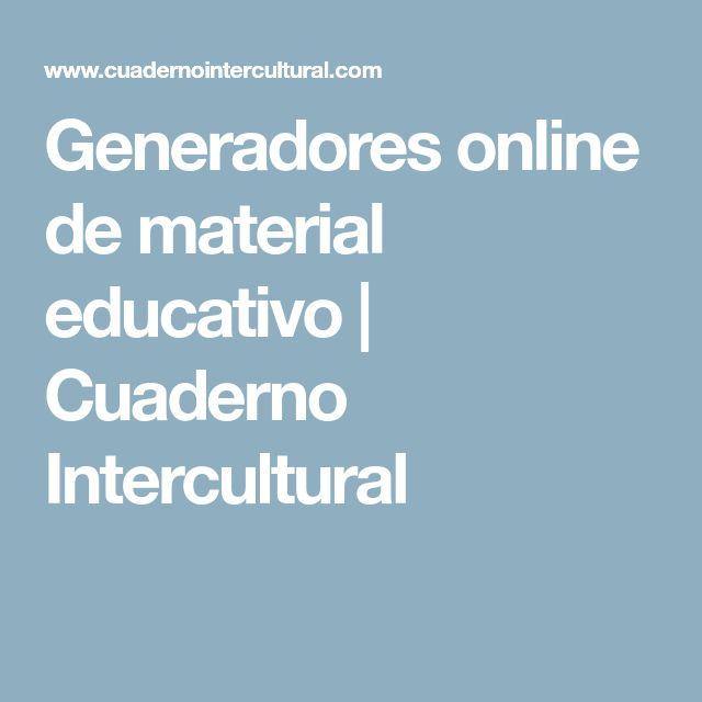 Generadores online de material educativo | Cuaderno Intercultural