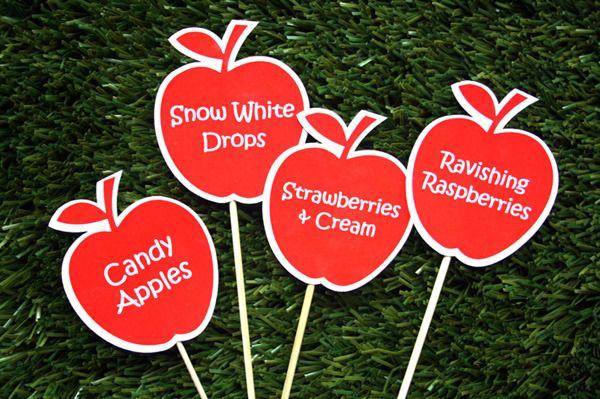 Toppers para decoração da mesa de guloseimas - Festa Branca de Neve ou Chapeuzinho Vermelho