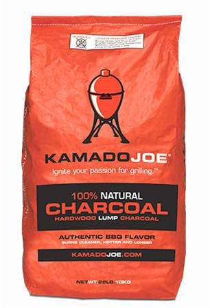 KAMADO JOE NATURAL LUMP COAL Burns hotter, longer and faster. Kamado Joe 100% Natural Lump Charcoal is the recommended heat source for your Kamado Joe Grill. It's made from a blend of hardwood trees like oak. Our 100% Natural Lump Charcoal adds a signature charcoal flavor to your grilled and smoked food.