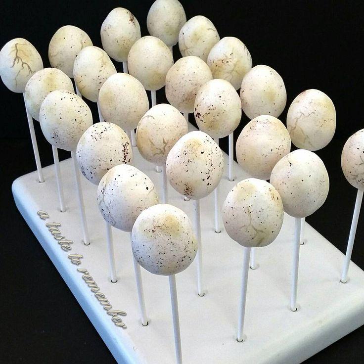 Dinosaur egg cake pops