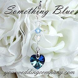 Something blue wedding bouquet charm - Bermuda blue Swarovski heart design. http://yourweddingcompany.com
