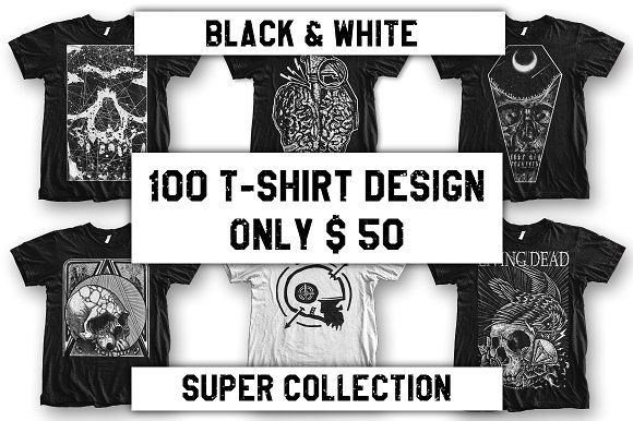 100 T-Shirt Design Super Collection Only $50 on @creativemarket