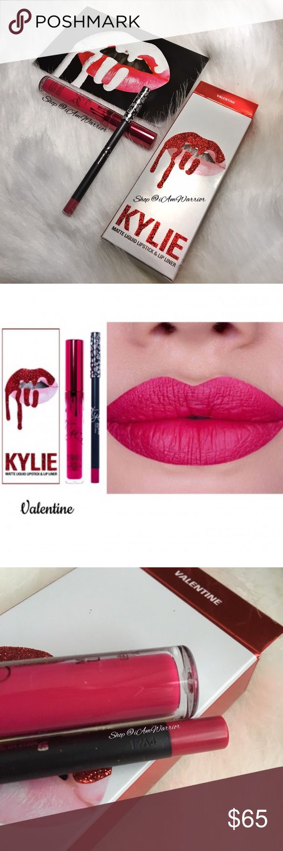 💋AUTHENTIC Kylie Cosmetics Valentine Lipkit Guaranteed authentic, unused, not swatched, limited edition Valentine Lipkit  purchased directly from Kylie Cosmetics as receipt shows. See my own photos for proof of authenticity/purchase. Contains full size matte lipstick & lipliner in box.  Comes with Kylie postcard & original mailing box. Trusted seller, suggested user. Drama free buyers only please. Ships same/next day. Please read updated bio regarding closet policies prior to any inquiries…