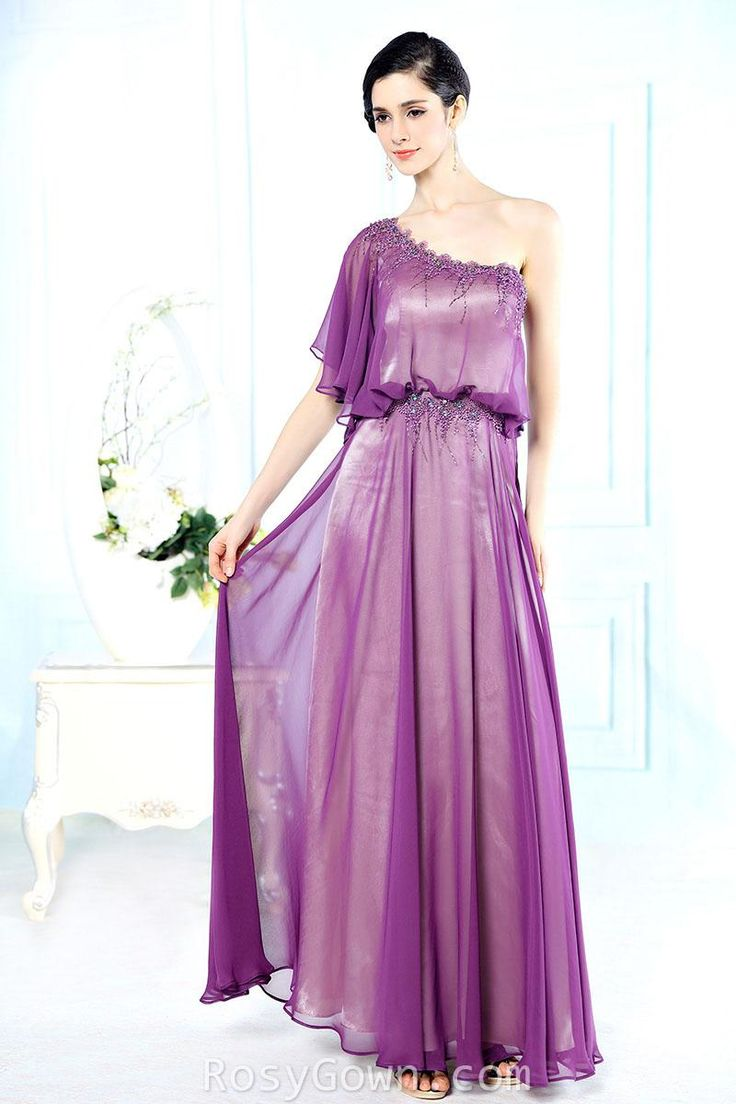 asymmetry beaded one shoulder #fuchsia floor length formal #dress