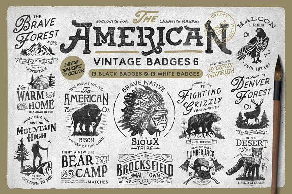 American Vintage Badges 6 by OpusNigrum on @creativemarket
