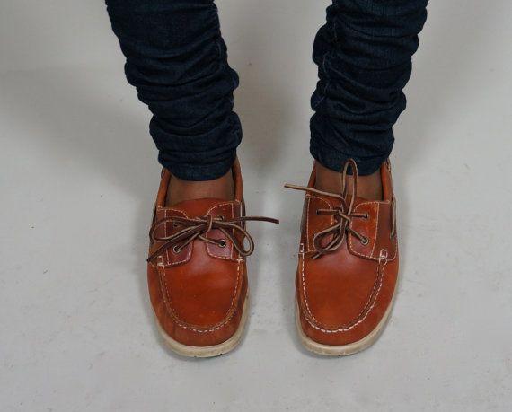 Cognac Leather Rockport Deck Shoes