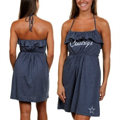 Dallas Cowboys Ruffle Halter Dress, paired with some boots for the perfect Cowboys girl look!