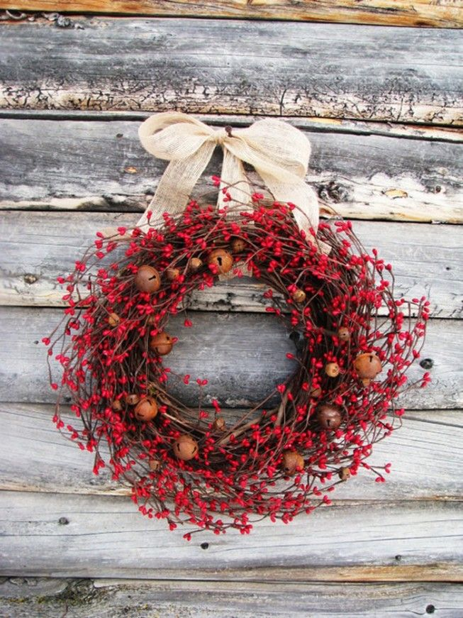 Red pip berry wreath with rusty jingle bells and burlap bow...cute