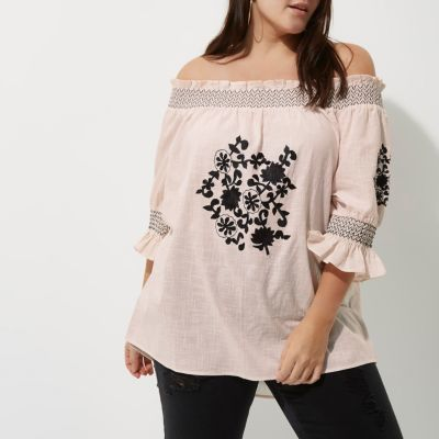 River Island Womens Plus cream embroidered shirred bardot top