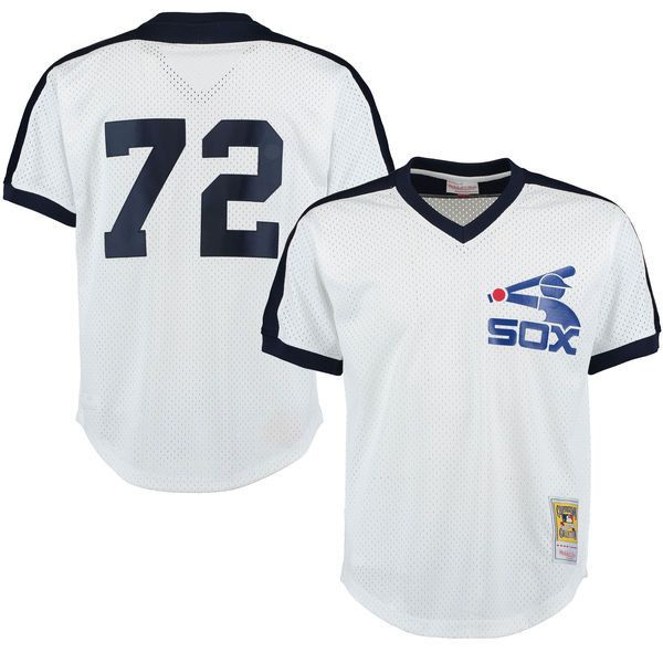 mens chicago white sox carlton fisk mitchell ness white cooperstown mesh batting practice jersey