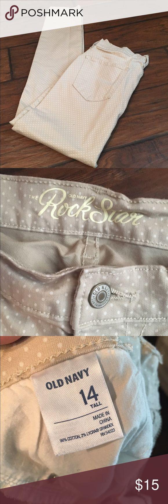 Old Navy RockStar Poka Dot Khaki Skinny Jeans Old Navy RockStar Poka Dot Khaki Skinny Jeans. Size 14/tall. Never Worn :( Old Navy Jeans Skinny