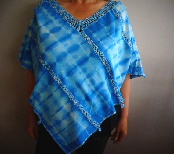 Handyed Cotton Poncho by glogloknitwear on Etsy
