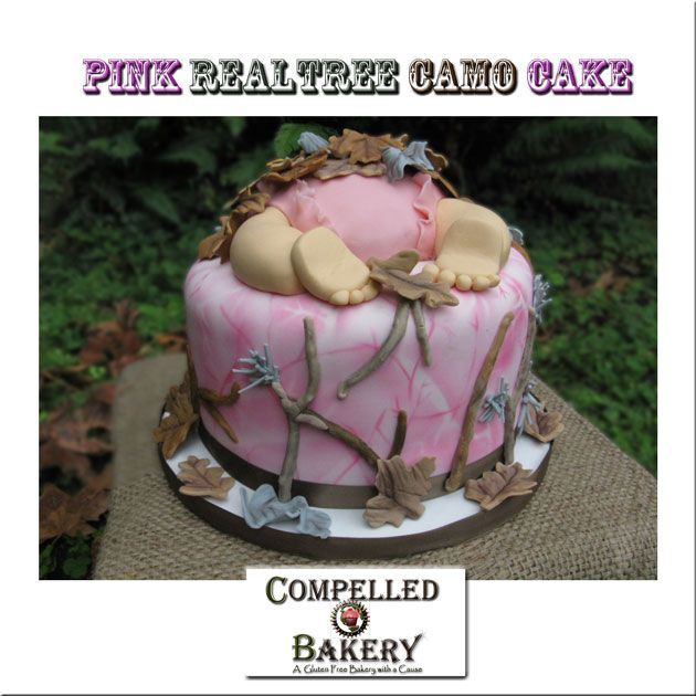 Realtree Camo Cake. Pink camo cake. Baby Shower Cake Pink Natural- Camouflage #camocake www.compelledbakery.com