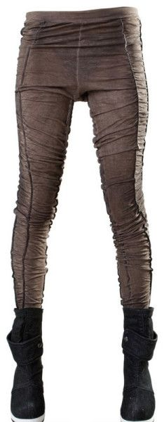 Demobaza Ruched Cotton Jersey Leggings in Brown