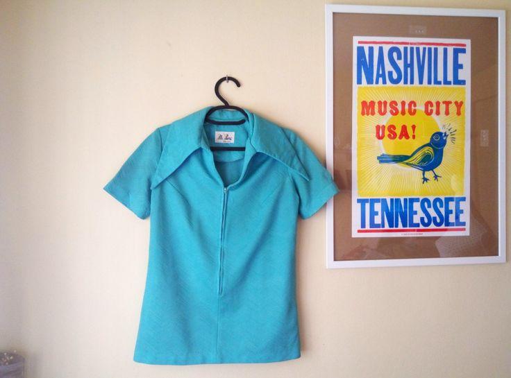 Camisa Años 60 I Década 1960 I Mr. Fine Dallas I Camisa Azul Turquesa Cremallera Vintage de TropicalaffaireES en Etsy