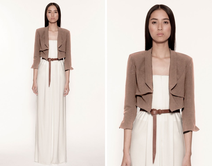 Maxi dress + crop jacket + waist belt = harmony.