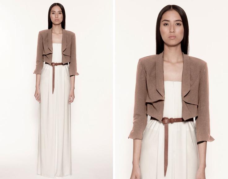 Maxi dress + crop jacket + waist belt = harmony.