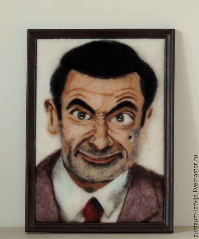 Купить Портрет Рована Аткинсона или Шерстяной мистер Бин - чёрно-белый, Мистер Бин