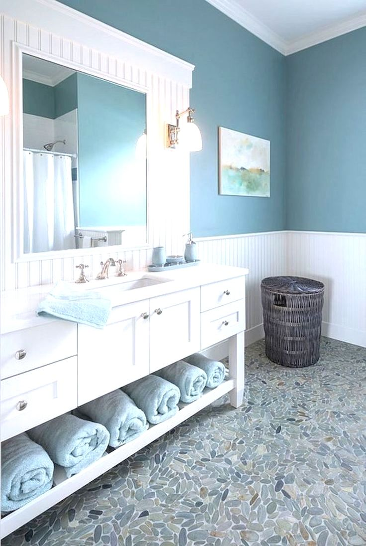 modern bathrooms with pebble tile