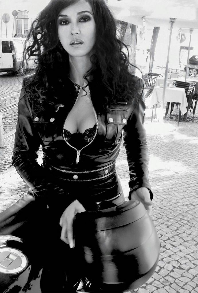 Monica Bellucci Leather Motorcycle Suit In Black