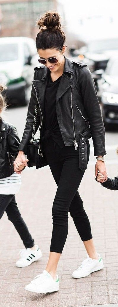 Black Biker Jacket, Black Top, Black Denim, White Sneakers | Hello Fashion
