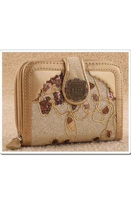 Fold over purse crafted in PU, featuring the flower embroidered flap, sequins detail, antique gold plaque to the front, zip closure and stitched trims.$26