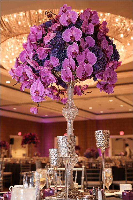 orchid and hydrangea centerpieces | purple wedding ideas | indoor reception | #weddingchicks