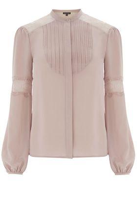 Shirts & Blouses | Pink BIB LACE INSERT BLOUSE | Warehouse