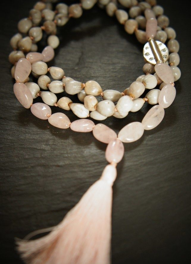 108 Heart Chakra Mala, Morganite, Silver, Vaijayanti Seed Yoga Necklace £60.00