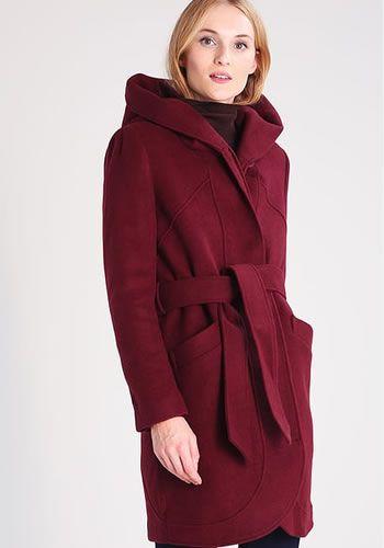 Palton iarna dama cu gluga bordo