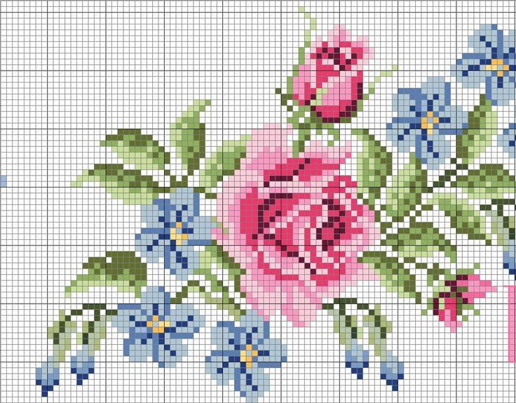 Floral Pattern in Cross Stitch designed by Suzana Lima www.suzanacrossstitch.com