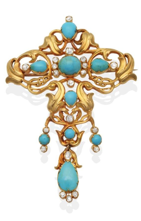 Royal Interest: An antique Turquoise and Diamond Brooch. Inscribed verso: 'Had belonged to dear grandmama V. From Mama V.R. 14th April 1871. To Beatrice' This brooch is believed to have belonged to Victoria, Duchess of Kent (formerly Princess Victoria of Saxe-Coburg-Saalfeld), who, upon her death in 1861, left her jewellery to her daughter, Queen Victoria.