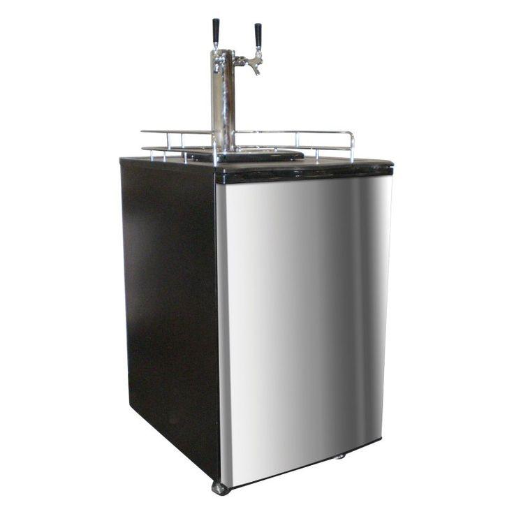 Nostalgia Electrics KRS-6100SS Double Kegerator Twin Tap Beer Keg Fridge - Stainless Steel - 082677020048