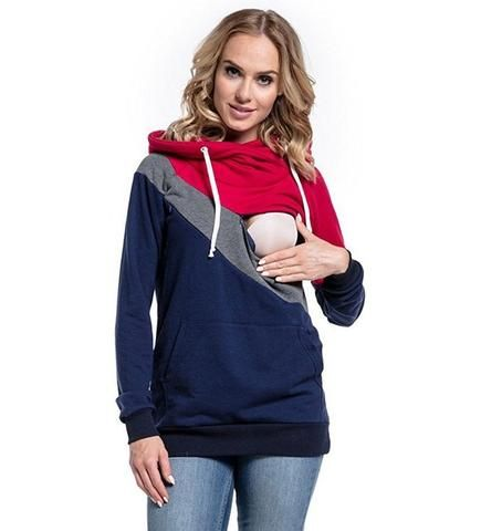e2194f4560f91 Long Sleeve Striped Breastfeeding Hoodie in 2019 | Mommy Must Haves ...