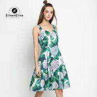 Flor verde primavera verano runway designer dress una línea de verano para mujer vestidos