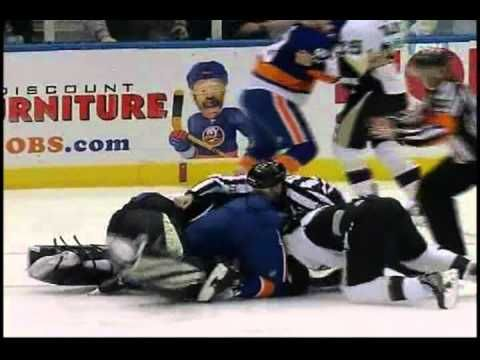 Found this randomly...but lord have mercy!  17 mins of almost pure fighting on a hockey rink!  New York Islanders vs. Pittsburgh Penguins: All out Brawl [2-11-11]