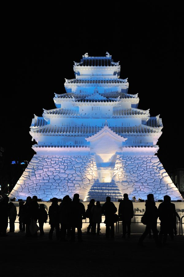 The Snow Castle|People visit the big snow-made castle in Sapporo Snow Festival 2012 #hokkaido #japan
