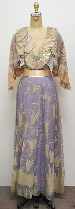 Field of Lilies, Zandra Rhodes, 1971, British, silk, plastic and synthetic