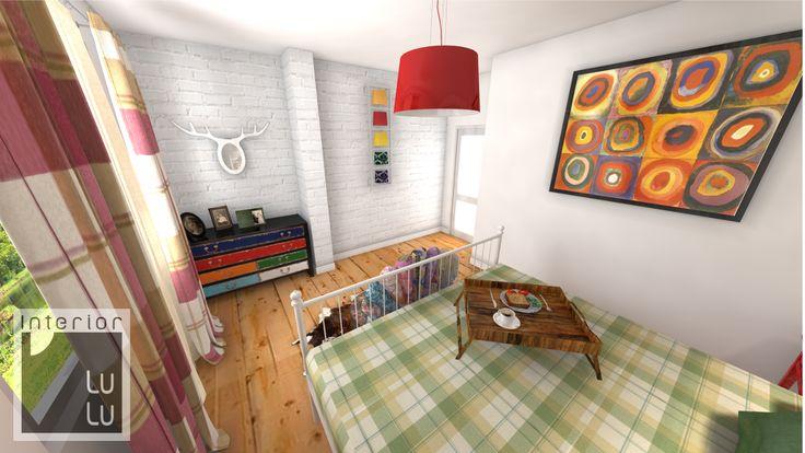 Jasna sypialnia w ciepłych kolorach
