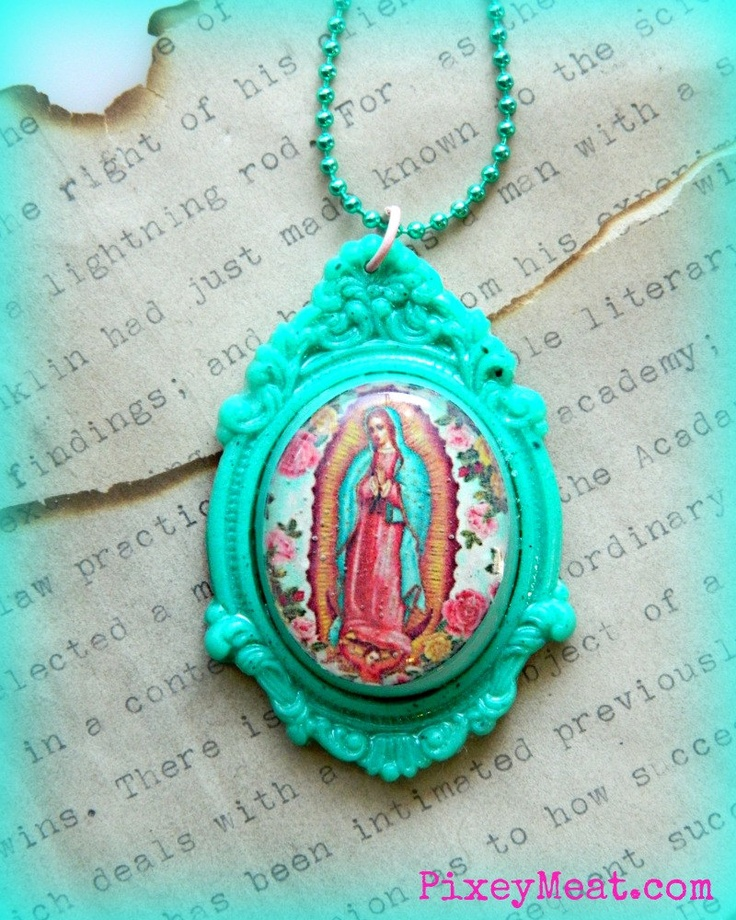 Our Lady Guadalupe Necklace in Aqua by PixeyMeat on Etsy