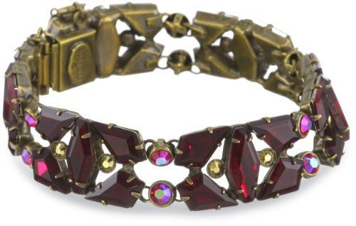 "Sorrelli ""Ruby Cocktail"" Navette Sparkling Red and Gold Cut Crystal Bracelet Sorrelli. $166.00. Items that are handmade may vary in size, shape and color. Made in China. Antique gold-tone metal"