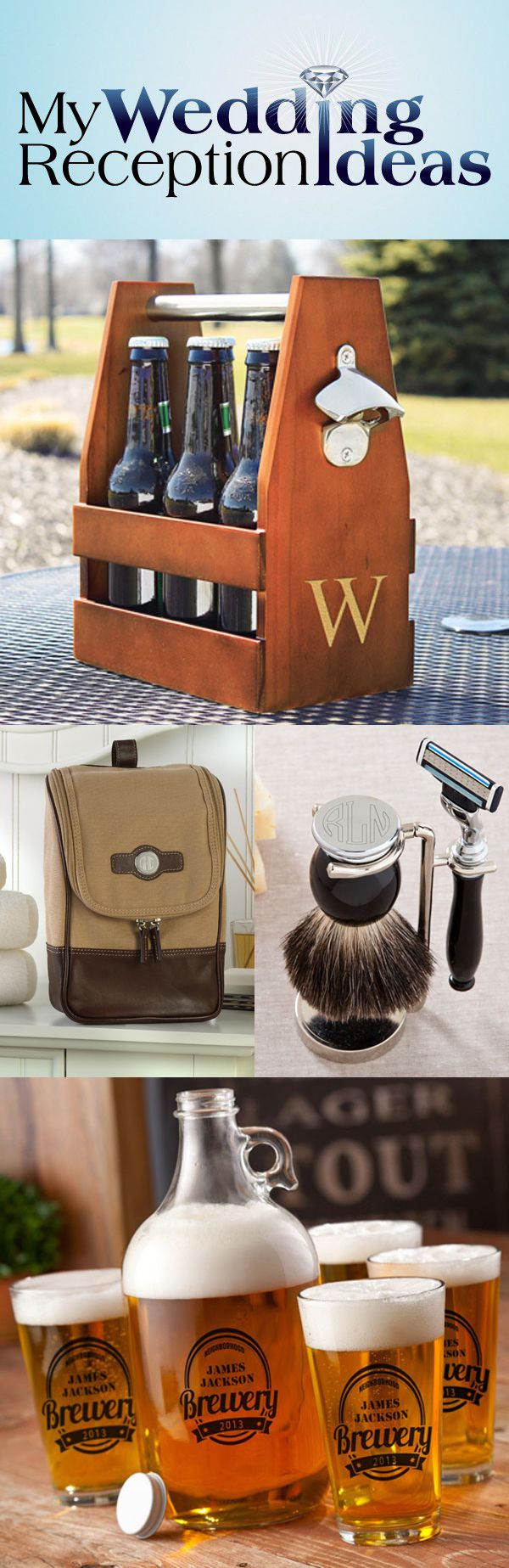 Hot groomsman gift ideas that are both unique and functional are the ticket for saying thanks to your best man and groomsmen. An wood craft beer carrier, complete with bottle opener and large custom initial will be a hit with the craft brewer in your wedding party. How about a badger hair shaving brush and razor set with custom engraved shaving stand? Gifts like these will be admired and enjoyed by your best man and groomsmen for years to come.