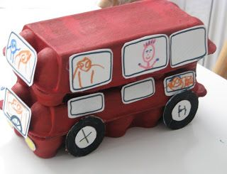 Make an egg carton double decker bus from hartcraft to go with the nursery rhyme The wheels on the bus go round and round....