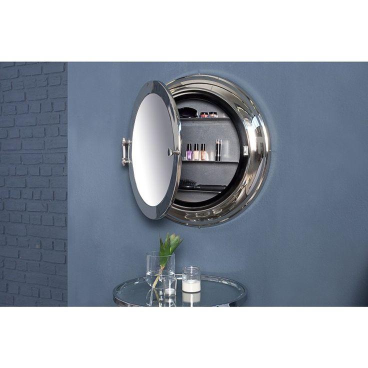 Spiegel patrijspoort 55 cm zilver - 36504