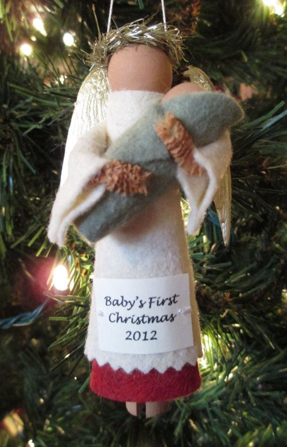 Baby's First Christmas Ornament Angel and Baby by ModerationCorner, $12.00