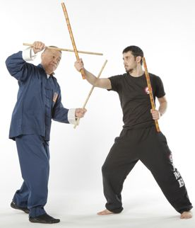 Stick-fighting expert Richard Bustillo demonstrates sinawali for Black Belt magazine.