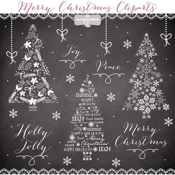 Christmas tree clipart by burlapandlace on Creative Market